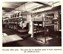 Five color offset press.  This press has an operating speed of 6,000 impressions per cylinder per hour.  In: The Coast and GeodeticSurvey: Its Products and Services, 1965.  57 pp.