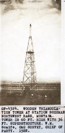 Wooden triangulation tower at Station Bozeman erected by the party ofWilliam Scaife.