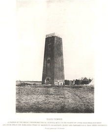 The Nojli tower, built for the Great Trigonometrical Survey of India. Suchmasonry towers were built in India as compared to the wooden towers withina tower used by the Coast Survey.