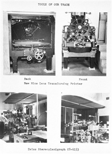 A Christmas card album highlighting the Photogrammetry Division of theCoast and Geodetic Survey in 1955. Tools of our trade - Nine lens transformingprinter and Zeiss steroplanigraph C8-6153 .