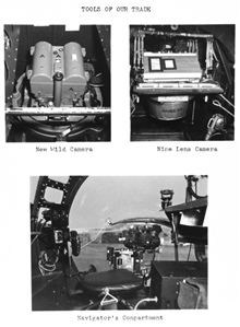 A Christmas card album highlighting the Photogrammetry Division of theCoast and Geodetic Survey in 1955. Tools of our trade - New Wild camera,nine-lens camera, navigator's compartment in nose of B-17.