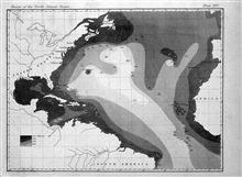 First map of an oceanic basin.  Matthew Fontaine Maury produced this map in1853 and published it in the Wind and Current Charts for that year.