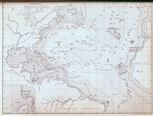 Second map of an oceanic basin.  Matthew Fontaine Maury produced this mapin 1854 and published it in the Wind and Current Charts for that year.  Thismap had significantly more data than the 1853 map including soundings byLt. Otway Berryman, USN, on t