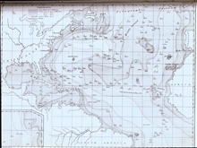 In 1858, Matthew Fontaine Maury modified his 1854 map to show theTelegraphic Plateau extending east-west across the Atlantic Ocean and an area ofrelatively shoal ground which he called Middle Ground.  The Telegraphic Plateauactually extended through