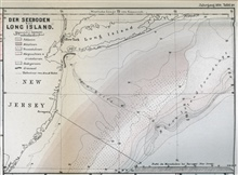 The Sea Bottom off Long Island  as published by Petermann's GeographischeMittheilungen in 1870.  This map was drawn by Louis Francois de Pourtales of the the United States Coast Survey.  Map shows head of Hudson Canyon, the canyonaxis as shown by the