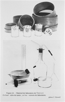 Figure 64.  Series of Thoulet's sieves for sorting sediment material of varyingsizes on the top.  On the bottom, various types of laboratory glass ware used by Thoulet in sediment studies.  Thoulet was very concerned with the classification of marine