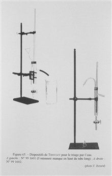 Figure 65. Thoulet device for separating sediment from water.  This device wasdeveloped to obtain very fine sediment samples that were still suspended in thewater after passing through a series of sieves.  Thoulet developed thisinstrument in 1878 pri