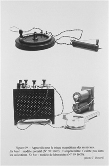 Figure 69. Magnetic device for separating and classifying minerals.  This earlydevice that used an electro-magnet to separate minerals of different magneticproperties was conceived of by the French mineralogist Ferdinand Foque in 1879.