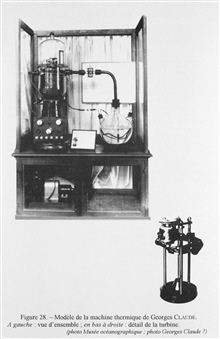 Figure 28.  Model of a machine for generating electricity based on differencesof temperature between the sea surface and great depth.  This thermal machinewas devised by the physicist Georges Claude and the engineer Paul Boucherot in1926.  It was an