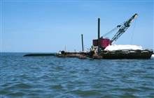 A barge with a crane is filling a geotube, in the background of the image.
