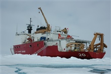 View of the US Coast Guard Cutter Healy from the ice.