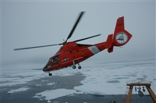 US Coast Guard Cutter HEALY operates with a compliment of twoCoast Guard HH-65B Dolphin Helicopters in addition to Healy's normal equipmentand crew. All personnel and scientific equipment for the 2005 Hidden Oceancruise are brought aboard exclusively