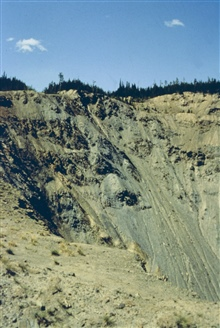 Contaminated waste rock at Blackbird Mine. Note the erosion gulleys. The wasterock has been stabilized as part of the remediation.