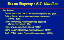 Project history for Exxon Bayway/ B.T. Nautilus restoration projects.