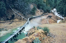 A flume used to collect contaminated drainage at Iron Mountain Mine.