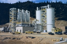 An acid mine drainage (AMD) treatment plant at Iron Mountain Mine.