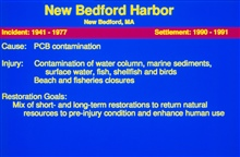 A slide describing the restoration goals at the New Bedford Harbor Superfundsite.