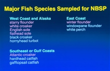 fish species sampled for NBSP