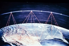 Conceptual planned method of tieing a worldwide satellite triangulationnetwork together.  The corners of the large polygons on the earth's surface were representations of BC-4 camera stations.  Ideally the stations would be atleast 1,000 miles apart
