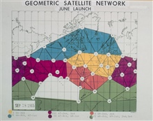 Different colors on map display different phases of satellite triangulationprogram.