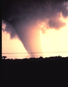 The first tornado captured by the NSSL doppler radar and NSSL chase personnel.The tornado has reached the mature stage of formation.