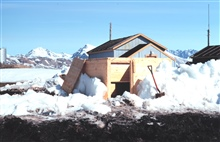 Observation hut for both BC-4 and Transit satellite receiver dug out of the snow.