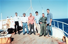 Station Number 044 - Defense Mapping Agency BC4 team including Allan Joll onleft, Ben Roth, fourth from left.  On their way to Heard Island.