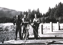 Lt. (j.g.) Ray Stone on right with a topographic party off the C&GS; Ship E.LESTER JONES at Excursion Inlet, Southeast Alaska.  October 19, 1943.