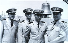 First modern C&GS; Officer Training Class on board the C&GS; Ship EXPLORER, June20, 1960.  L to R - Commander Raymond M. Stone, training officer, Ensign GeorgeA. Maul, Ensign James Collins, and Ensign Thomas E. Krakowski.  This firstmodern training c