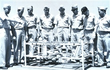 Fifth modern C&GS; Officer Training Class on board the C&GS; Ship EXPLORER, July21, 1961.  L to R - Commander Raymond M. Stone, training officer, Ensign GeraldFussell, Deck Officer Richard P. Bertocchi, Ensign Arthur L. Moshos, EnsignHorstas A. Uzpur