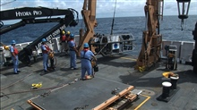 Launching Seirios from the stern of the OKEANOS EXPLORER
