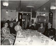 Dorothy Whipp, Mrs. Wardwell, daughter of Wardwell's, Captain Arthur Wardwell, Thelma Whipp, Captain David Whipp. Lunch on the PATHFINDER.