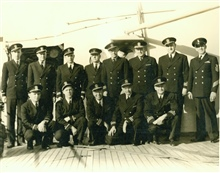 1951 officer complement of Coast and Geodetic Survey Ship PATHFINDER.  Rear rowL-R: Ens. Demuth, Ens. Lippold, Lieut. Tonkel, Chief Engineer Jones, Lieut. Cmdr. Tribble, Capt. Pierce, Lieut. Cmdr. Ulm, Chief QM Larsen.  Front row L-R:Ens. Arnold, Ens