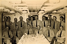Wardroom of PATHFINDER 1958.  Junius Jarman sitting second from left,Ira Rubottom sitting third from left.  Bob Williams standing center.