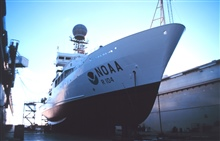 The RONALD H. BROWN in drydock in San Diego.  A new coat of paint and the shiplooks as good as new.