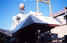 A view of the stern and stern thrusters of the RONALD H. BROWN while in drydockat San Diego.