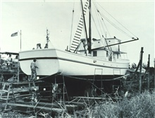 The Bureau of Commercial Fisheries Research Vessel GEORGE M. BOWERS in shipyard.