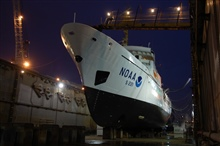 NOAA Ship RAINIER in drydock at Todd Pacific Shipyards.