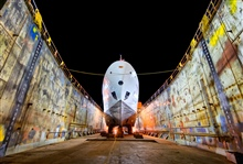 NOAA Ship RAINIER in drydock.