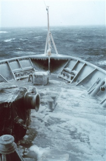 The bow of the MILLER FREEMAN on a cold-d-d-d day