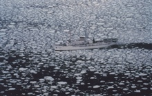 NOAA Ship SURVEYOR in pancake ice in the Bering Sea