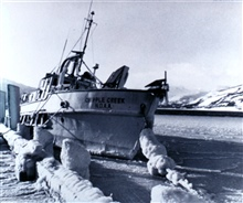 NOAA Fisheries Research Vessel CRIPPLE CREEK, formerly a Bureau of Mines vessel.This picture was taken January 17, 1972 after 100 mph winds with freezing spraylashed Kodiak, Alaska.  Over 2 feet of ice built up on the vessel's port sideduring this st