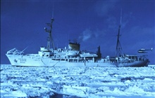 NOAA Ship SURVEYOR.In service 1960 - 1996.Pacific service.Helicopter operations in the ice in the Bering Sea.