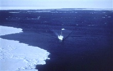 NOAA Ship SURVEYOR.In service 1960 -1996.Pacific service.Steaming along the edge of the pack ice.