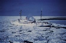 NOAA Ship SURVEYOR in pack ice.