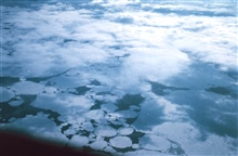 Passing over ice floes while flying to McMurdo Station