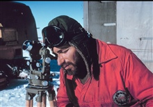 Herb Meyers observing sun azimuth for position information.Minnesota Camp to Byrd Station Traverse.