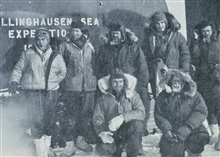 Minnesota Camp to Byrd Station traverse crew.  Herb Meyers, magnetic observer,kneeling in front.