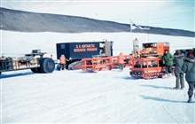 Tractor-train on Skelton Glacier leaving McMurdo Station for South PoleMcMurdo Station to South Pole traverse