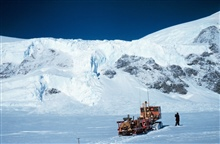 Tractor stopped while looking for crevasses on glacierMcMurdo Station to South Pole traverse